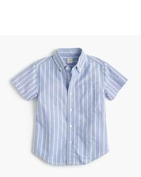Camisa de manga corta de rayas verticales celeste de J.Crew