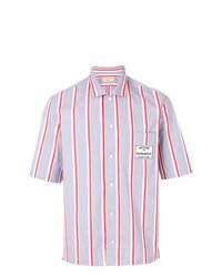 Camisa de manga corta de rayas verticales celeste de MAISON KITSUNÉ