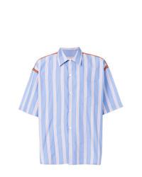 Camisa de manga corta de rayas verticales celeste de Marni