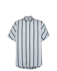 Camisa de manga corta de rayas verticales celeste de Oamc
