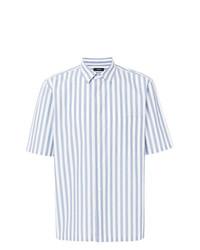 Camisa de manga corta de rayas verticales celeste de Theory