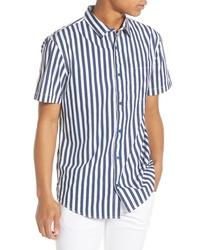 Camisa de manga corta de rayas verticales en azul marino y blanco