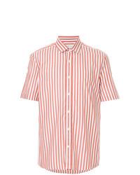 Camisa de manga corta de rayas verticales en blanco y rojo de Cerruti 1881