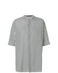 Camisa de manga corta de rayas verticales en negro y blanco de Haider Ackermann