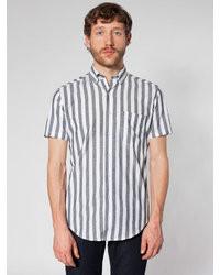 Camisa de manga corta de rayas verticales gris