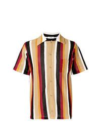 Camisa de manga corta de rayas verticales marrón claro