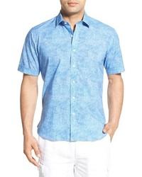 Camisa de manga corta de seda estampada celeste de Toscano