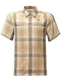 Camisa de manga corta de tartán marrón claro
