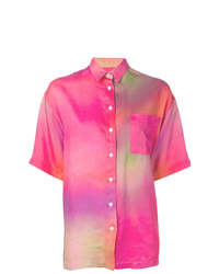 Camisa de manga corta efecto teñido anudado rosa de EACH X OTHER