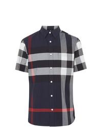 Camisa de manga corta en blanco y rojo y azul marino de Burberry