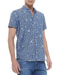 Camisa de manga corta estampada azul