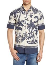 Camisa de manga corta estampada en blanco y azul marino