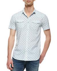 Camisa de manga corta estampada en blanco y azul de Diesel