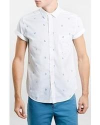 Camisa de manga corta estampada en blanco y azul de Topman