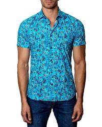 Camisa de manga corta estampada en turquesa