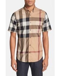 Camisa de Manga Corta Marrón Claro de Burberry