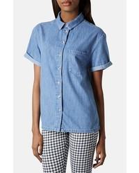Camisa de manga corta vaquera azul