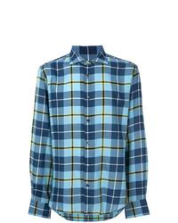 Camisa de manga larga a cuadros azul de Ermanno Scervino