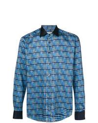 Camisa de manga larga a cuadros azul de Etro