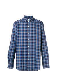 Camisa de manga larga a cuadros azul de Finamore 1925 Napoli