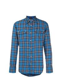 Camisa de manga larga a cuadros azul de Maison Margiela