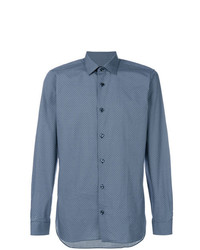 Camisa de manga larga a cuadros azul de Z Zegna