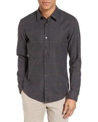 Camisa de manga larga a cuadros en gris oscuro de BOSS