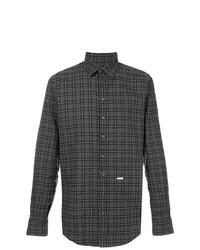 Camisa de manga larga a cuadros en gris oscuro de DSQUARED2