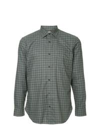 Camisa de manga larga a cuadros en gris oscuro de Kent & Curwen