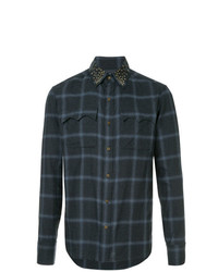 Camisa de manga larga a cuadros en gris oscuro de Kolor