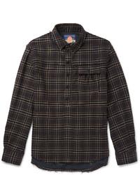 Camisa de manga larga a cuadros en marrón oscuro
