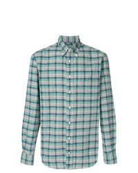 Camisa de manga larga a cuadros en verde menta de Gitman Bros