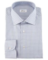 Camisa de manga larga a cuadros en violeta de Brioni