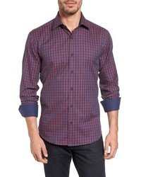 Camisa de manga larga a cuadros en violeta de Bugatchi