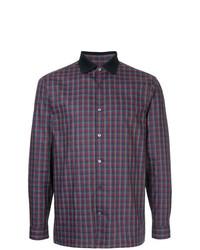 Camisa de manga larga a cuadros en violeta de Cerruti 1881