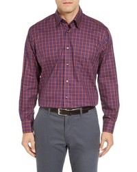 Camisa de manga larga a cuadros en violeta de Robert Talbott