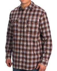 Camisa de manga larga a cuadros marrón