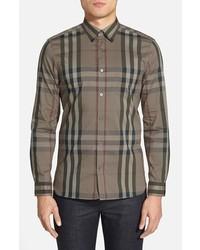 Camisa de manga larga a cuadros marrón de Burberry