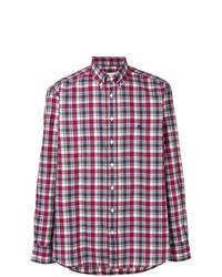 Camisa de manga larga a cuadros morado