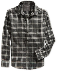 Camisa de manga larga a cuadros negra