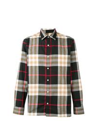 Camisa de manga larga a cuadros negra de Burberry