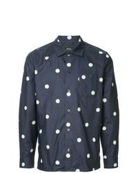 Camisa de Manga Larga a Lunares Azul Marino de A.P.C.