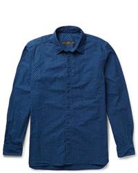 Camisa de Manga Larga a Lunares Azul Marino