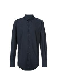 Camisa de manga larga a lunares azul marino de Dolce & Gabbana
