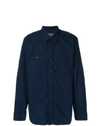 Camisa de Manga Larga a Lunares Azul Marino de Engineered Garments