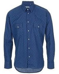 Camisa de Manga Larga a Lunares Azul Marino de U-NI-TY