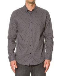 Camisa de manga larga a lunares en gris oscuro