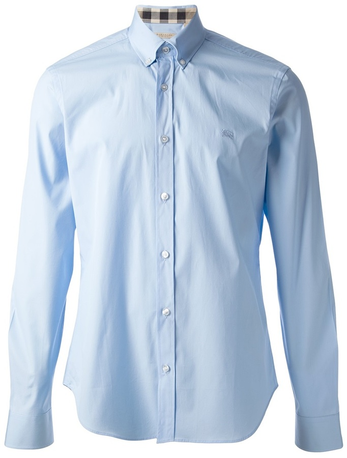 Camisa de manga larga celeste de Burberry