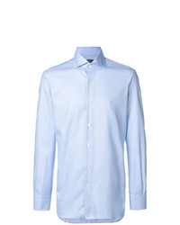 Camisa de manga larga celeste de Finamore 1925 Napoli