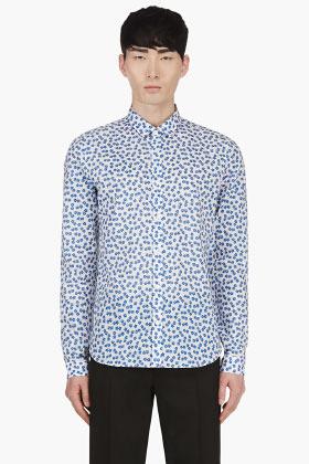 391269e1d Camisa de manga larga con print de flores celeste de Burberry